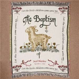 Personalized Embroidered Baby Baptism Blanket Throw