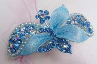 Clear SWAROVSKI CRYSTAL Floral HAIR BARRETTE CLIP 3