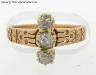 Antique Victorian 3 Diamond 18K Yellow Gold Ring
