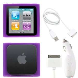 Cable + Purple Silicone Skin Soft Cover Case for the Apple iPod Nano 6