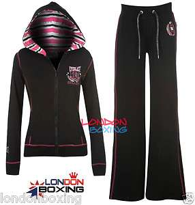 Ladies EVERLAST Black Tracksuit   Lightweight Full Zip Hoodie + Sweat