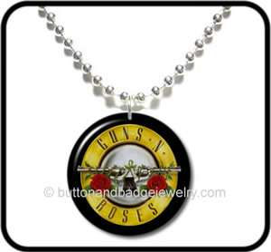 GUNS N ROSES* Axl Rose GNR Rock Button NECKLACE