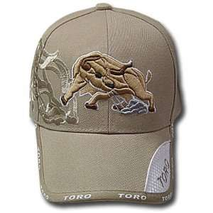 OUTDOOR KHAKI RAGING BULL TORO RODEO VELCRO HAT CAP ADJ