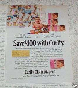 1978 Curity Baby Cloth Diapers vs disposable diaper AD