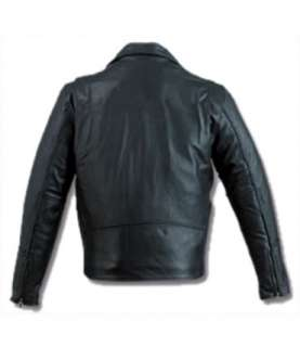 BLACK LEATHER MOTORCYCLE JACKET   COWHIDE BIKER JACKET   32