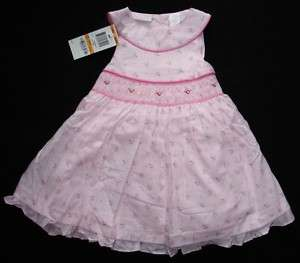 Baby Girls Dress Pink Flower Smocked Birthday 12 Months NWT