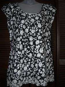 ANTHROPOLOGIE LUX COTTON BLACK&WHITE TOP DRESS L