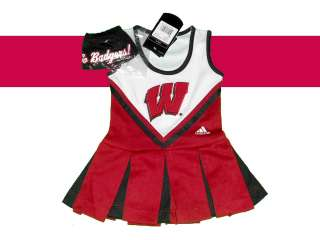 WISCONSIN BADGERS YOUTH GIRLS CHEERLEADER OUTFIT DRESS COSTUME SET