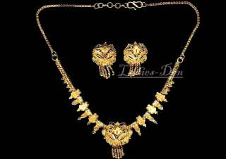 GOLD PLATED NECKLACE & EARRINGS SET BELLY DANCE ETHNIC INDIAN JEWELRY