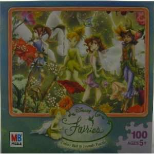 100 Piece Jigsaw Puzzle   TinkerBell & Friends Surrounded By Flowers