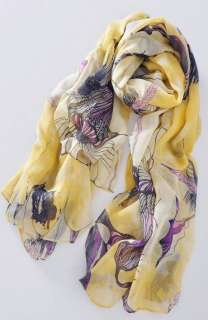 begonia flower ink style womens cotton neck scarf shwal