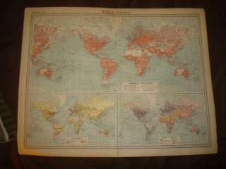 HUGE ANTIQUE 1922 THE TIMES ATLAS WORLD COMMERCE MAP OCEAN SHIP ROUTE