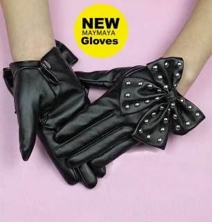 New Black Brown Rivets Butterfly Fashion Leather Gloves LADY GAGA