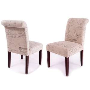 Bastien Elegant French Scripted Linen Dining Chairs (Sets of 2, 4, 6