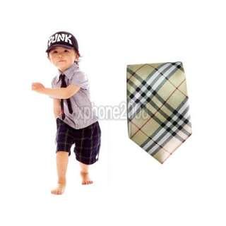 Kid Baby Child Elastic Shape Neck Tie gift Yellow Plaid