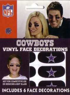 DALLAS COWBOYS LOGO EYE BLACK VINYL FACE DECORATIONS/STICKERS