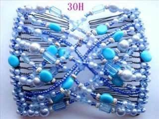 1X MAGIC Stretchy BLUE Glass Pearl Beads Hair Comb J30H