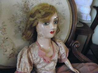 26 Antique Pink French Boudoir Doll with Feather Boa