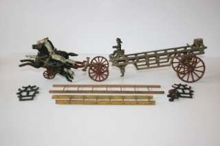 Antique Cast Iron Fire Wagon Truck Ladders 3 Horses Gen Vintage Toy
