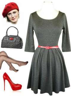 50s Style GREY Knit SCOOP NECK High Waist BELTED SKATE Dancer Dress w