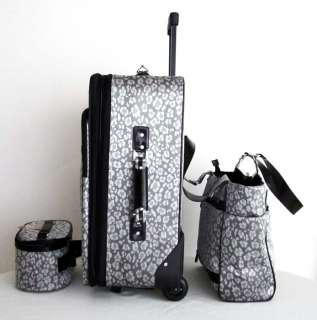 CarryOn 3pc Travel Set Rolling Wheel Luggage Beauty Case Purse Silver