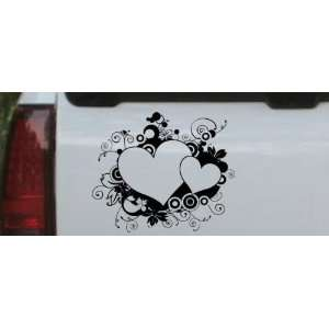 10in X 8.5in Black    Hearts With Swirls Car Window Wall Laptop Decal