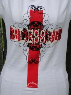 RANCH ROYALTY BLESSED WHITE/RED RHINESTONE CROSS SHIRT
