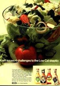 1972 Kraft Dressing Italian French Blue Cheese Salad Ad