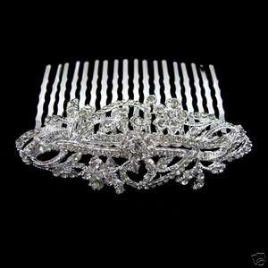 7cm Wide Flower Wedding Bridal Flower Girl Crystal Hair Comb