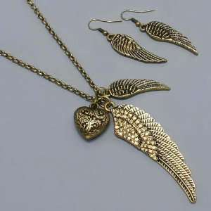 Bling Bling Womens Necklace & Earrings Set, Angel Wings with Stones