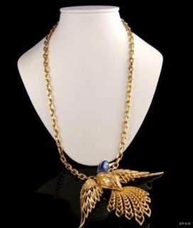 1960s JOMAZ Enamel Bird Pendant Necklace Vintage Jewellery Prom Bridal