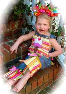 Custom I SCREAM FOR ICE CREAM Overalls Pageant BiRTHDAY baby gift