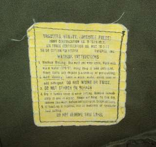 OLD VTG VIETNAM WAR ERA 1970s US ARMY SOLDIERS UNIFORM PANTS FATIGUES