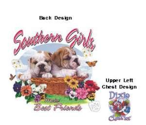 DIXIE T SHIRT SOUTHERN GIRLS BEST FRIENDS BULLDOG 13853