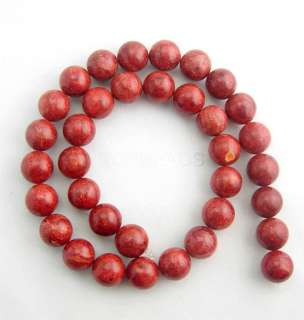 12mm Round Natural Sponge Red Coral Loose Strand Beads