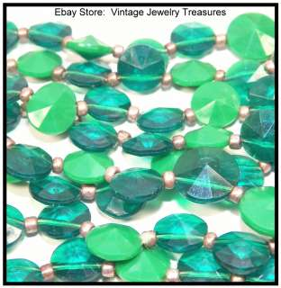 Irish Green Faceted Lucite Bib Gold Necklace & Clip Earring Set