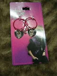 new Justin Bieber heart dangle hoop earrings Pop star teen idol