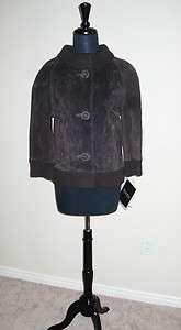 NWT $139 Terry Lewis Dark Brown Suede Sweater Jacket Coat L
