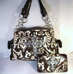 Brown & Pink Damask Rhinestone Cross Western Cowgirl Handbag Purse