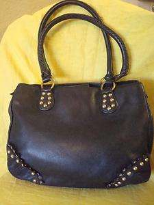 GIANNI BINI Black Leather/Gold Studs Shoulder Bag