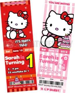 HELLO KITTY ZEBRA BIRTHDAY PARTY INVITATIONS Tickets Custom