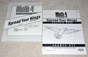 BJU Bob Jones 4th grade *MATH 4* SPREAD YOUR WINGS Student Activity