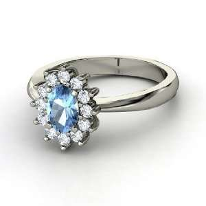 Aunt Stars Ring, Oval Blue Topaz 14K White Gold Ring with