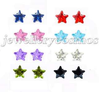 green purple red blue pink black star cz stud earring