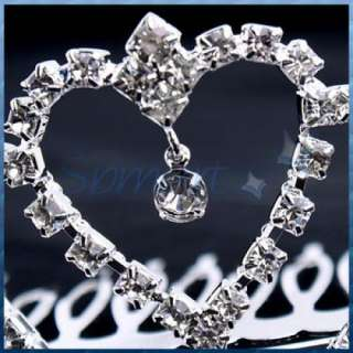Bridal Party Wedding HEART CROWN Tiara Hair Comb Clip Xmas & Crystal