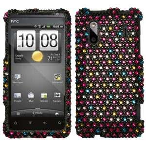 EVO Design 4G Crystal Diamond BLING Hard Case Phone Cover Rainbow Dots