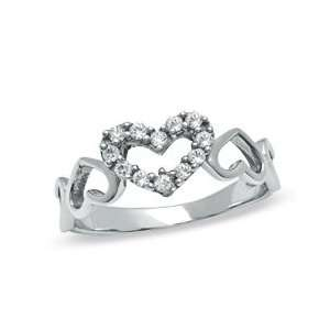 Cubi Zirconia Open Hearts Eternity Band in Sterling Silver   Size 8 SS