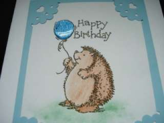 Handmade Happy Birthday Card Stampin Up Hedgehog Blue