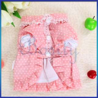 Bowtie Pink Dress Skirt Apparel Clothes Dots Pet Dog XS