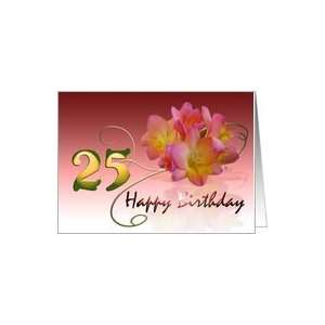 Happy 25th Birthday Oleander Flower curly coil pink flower